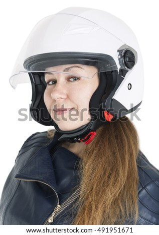 Smiling female motorcyclist in white helmet shell, isolated on white background