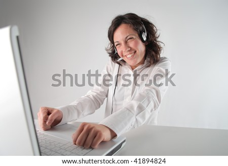 smiling female operator - stock photo