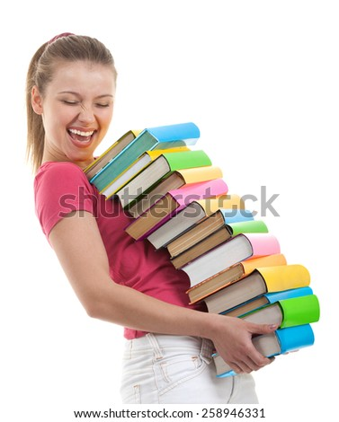 Smiling Female Student Carrying a lot of Colorful Books on the White Background