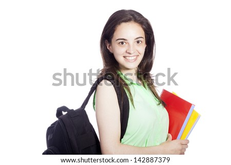 smiling female student carrying notebooks, isolated on white - stock photo