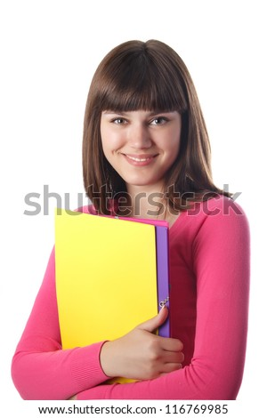 Smiling female student with folders isolated on white. - stock photo