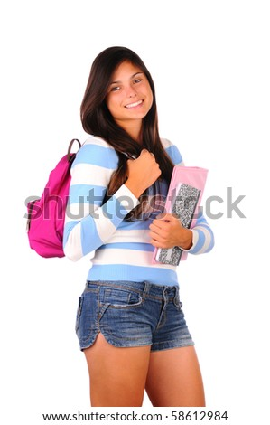 Smiling female teenage student with backpack and two notebooks in front of her. Vertical format isolated on white.