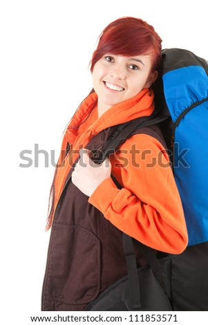 smiling female tourist  with backpack, white background - stock photo
