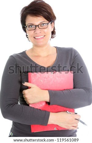Smiling female with red folder isolated on white - stock photo
