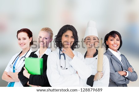 Smiling female workers in various industries - stock photo