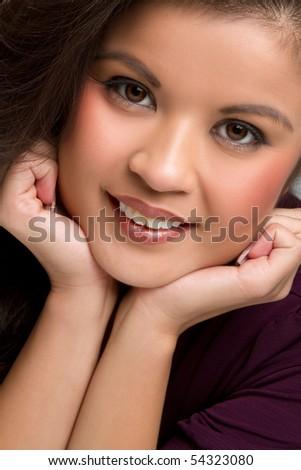 Smiling filipino woman - stock photo