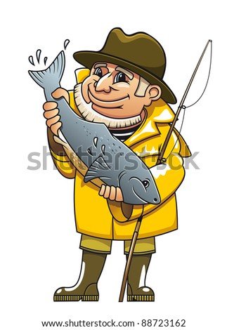Smiling fisherman in cartoon style catching a fish. Vector version also available in gallery - stock photo