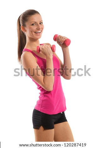 Smiling fit girl with dumbbells in her hands, on white background