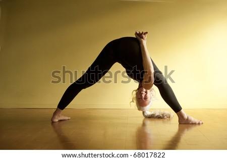 Self Determined Woman Yoga Posture Astavakrasana Stock ...