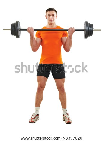 Smiling fitness bodybuilder man at biceps brachii muscles exercises with training dumbbells weight isolated on white - stock photo