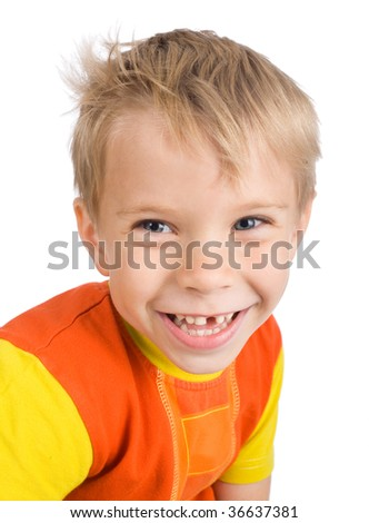 smiling five-year-old boy without one tooth on white background - stock photo