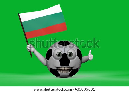 Smiling Football with bulgarian flag 3D Rendering