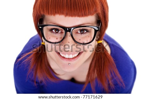 smiling freckles girl with red hair, close up, isolated on white background