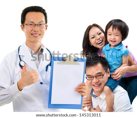 Smiling friendly Chinese male medical doctor and young patient family. Health care concept. Isolated on white background.