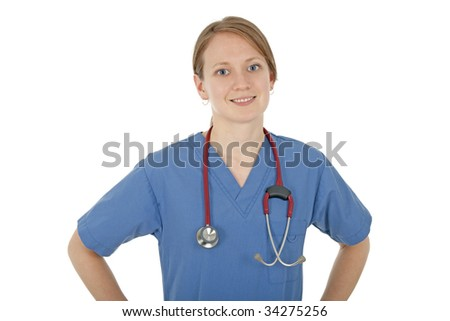 Smiling friendly nurse in blue uniform, on white background. - stock photo