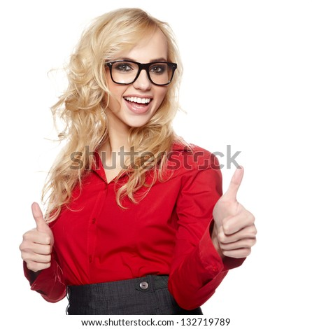 Smiling friendly secretary or assistant Smiling friendly secretary or assistant wearing glasses