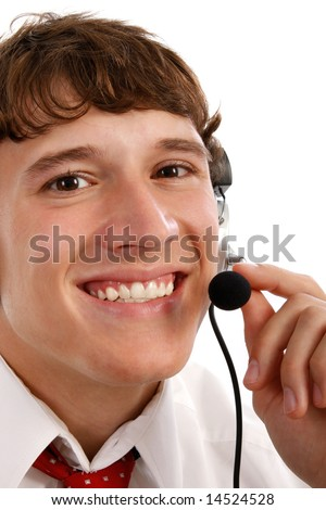 Smiling Friendly Tech Support Man on Isolated White Background - stock photo