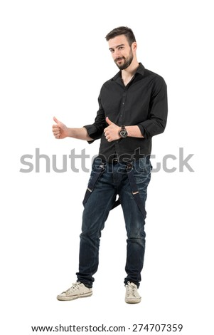 Smiling friendly young male fashion model with thumbs up. Full body length portrait isolated over white background. - stock photo