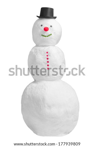 Smiling full length snowman isolated on a white background - stock photo