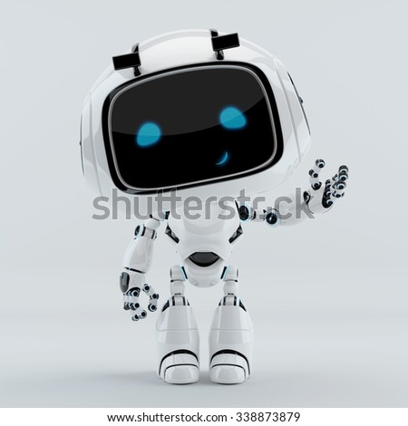 Smiling gesturing robotic character - stock photo