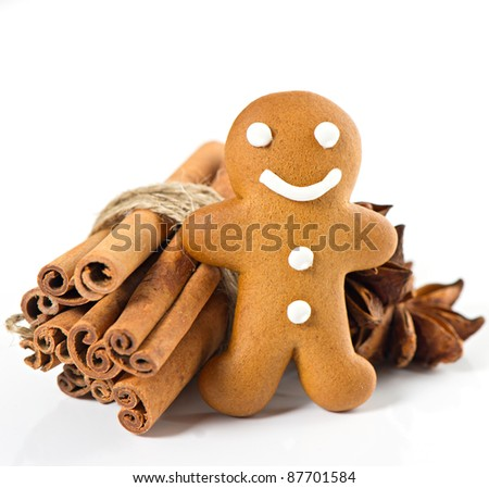 smiling gingerbread man with christmas spices. selective focus - stock photo
