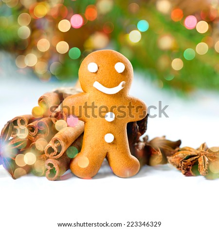 smiling gingerbread man with christmas spices. selective focus. bokeh lights effect - stock photo