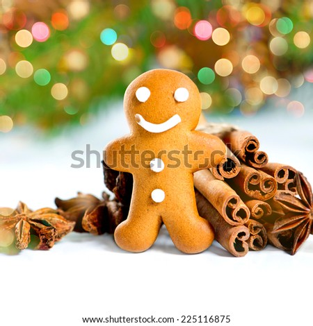 smiling gingerbread man with christmas spices. selective focus. defocused lights effect - stock photo