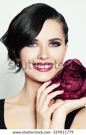 Smiling Girl. Cute Face. Toothy Smile - stock photo