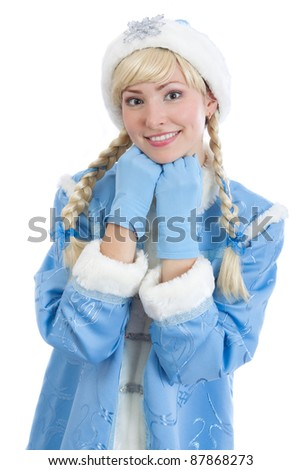 smiling girl dressed in traditional russian christmas costume of Snegurochka (Snow Maiden), isolated on white background
