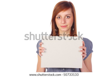 Smiling girl holding an empty board, isolated on white