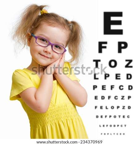 Smiling girl in glasses with eye chart isolated - stock photo