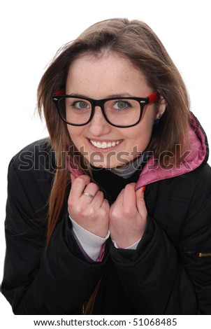 Smiling girl in sunglasses holds her collar over white background - stock photo
