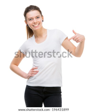 smiling girl in white t-shirt and and black trousers isolated on white background - stock photo