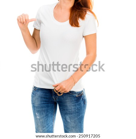 Smiling girl in white t-shirt isolated - stock photo
