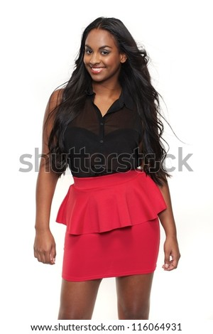 Smiling girl is isolated against a white background - stock photo