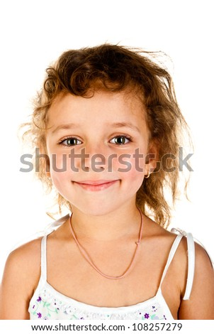 smiling girl on a white background - stock photo