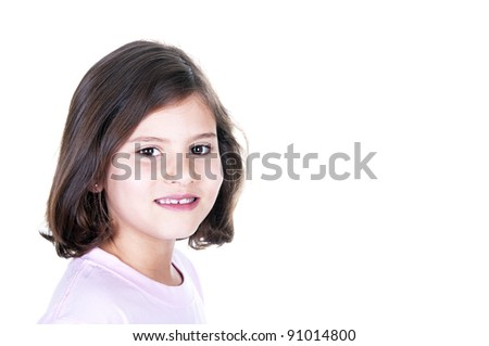 smiling girl on white background