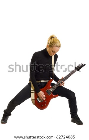 Smiling girl playing electric guitar over white backgound - stock photo