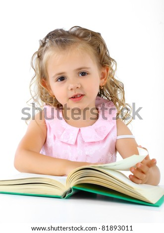 Smiling girl reading a book