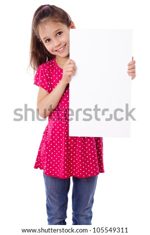 Smiling girl standing with empty vertical blank paper in hands, isolated on white - stock photo