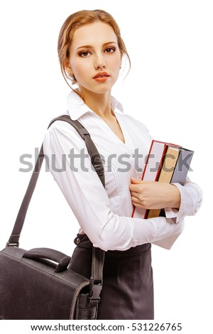 Smiling girl-student with textbooks and portfolio, isolated on white background.