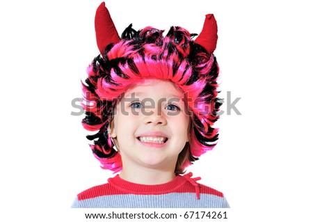smiling girl wearing like funny devilkin - stock photo
