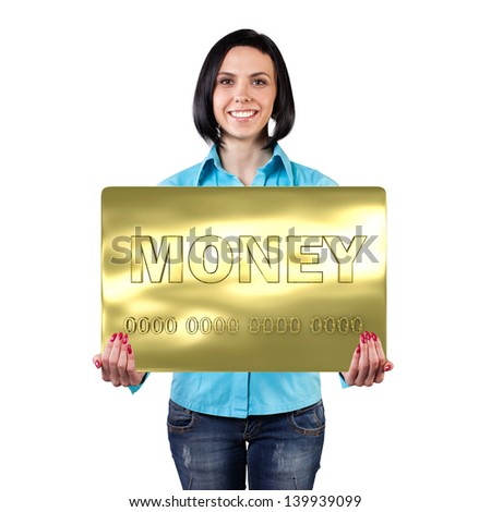 Smiling girl with a big card in hands - stock photo