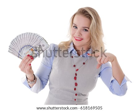 Smiling girl with a stack of dollar bills in hand, isolated on a white background