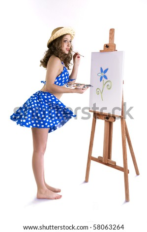 smiling girl with an easel