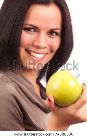 smiling girl with apple - stock photo