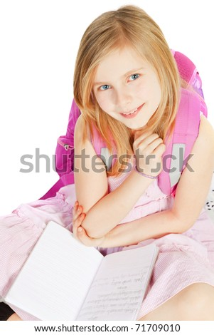 smiling girl with backpack over white background - stock photo