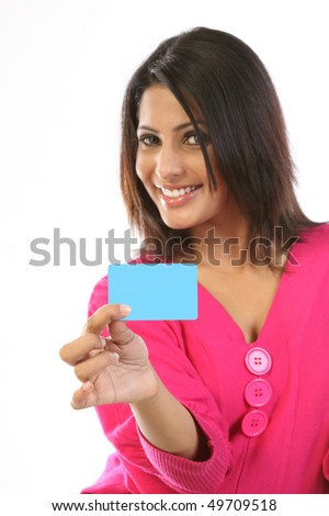 Smiling girl with blank card - stock photo
