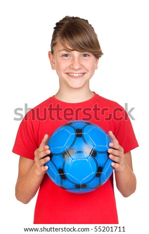 Smiling girl with blue ball isolated on white background - stock photo