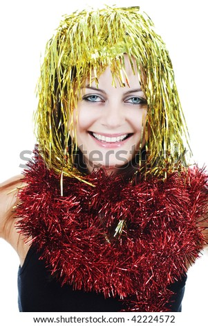 Smiling girl with blue eyes and golden tinsel wig isolated on white - stock photo